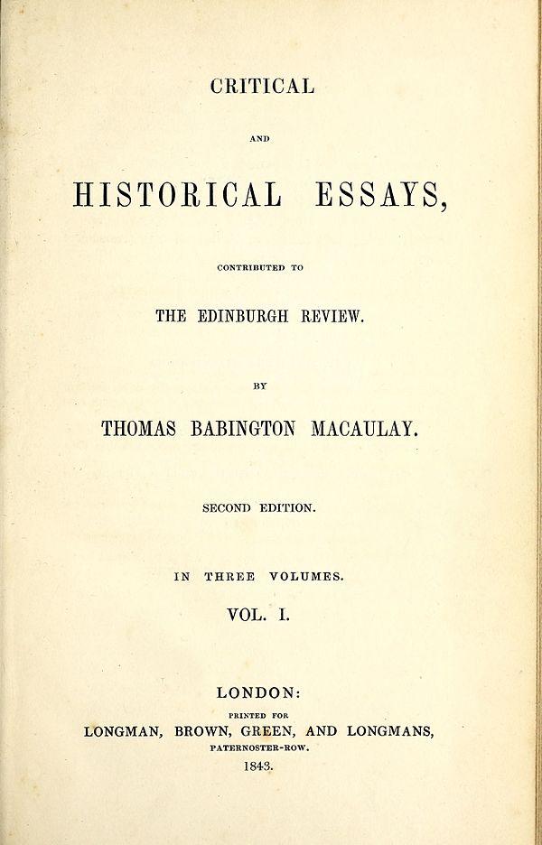 Thomas babington macaulay critical and historical essays