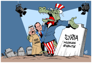 "Crocodile tears - ""Crocodile tears for Syria"", cartoon by Carlos Latuff illustrating the concept"