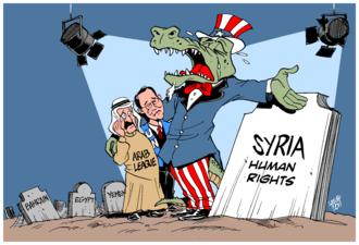 "Crocodile tears - ""Crocodile tears for Syria"", cartoon by Carlos Latuff illustrating the concept"