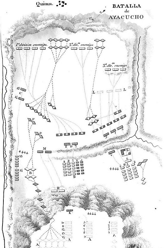 Plan of the Battle of Ayacucho. Royalists positions in the night from 8 to 9 Preparatory maneuver for the royalist attack March of battalions under colonel Rubin de Celis Maneuver and attack of Monet division Attack of Valdes' vanguard over the house occupied by the independentists Charge of royalist cavalry and dispersion of Gerona battalions by the royalist reserve Battalion Ferdinand VII, last royalist reserve CroquisAyacucho.JPG