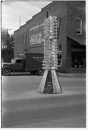 Crossville directional sign, 1937