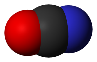 Cyanate - Space-filling model of the cyanate anion.