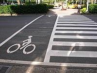 Cyclist crossing on Dunhua South Road, Taipei City 20080805.jpg