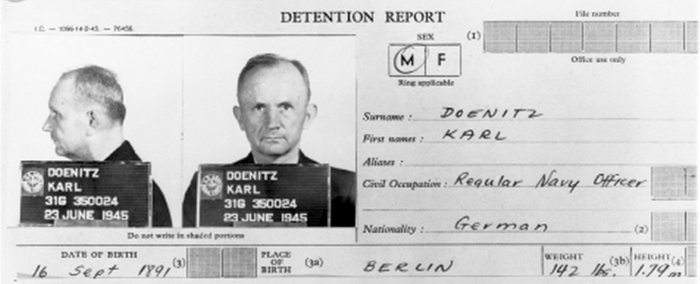 Donitz's detention report, 1945 DonitzDetentionReport.png