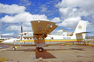 East African Airways - De Havilland Canada DHC-6 Twin Otter of EAA at Nairobi's Embakasi airport in 1973