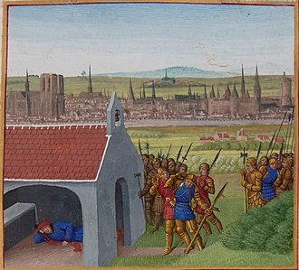 Paris in the Middle Ages - A view of Paris from Saint-Denis as depicted about 1455 by Jean Fouquet