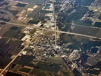 Daleville, Indiana - Daleville from above, looking southwest