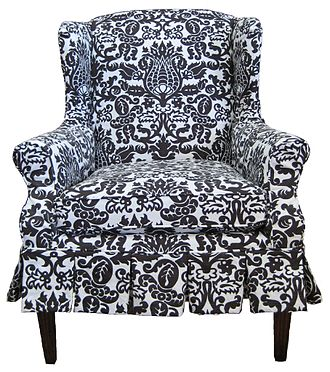Hollywood Regency - Image: Damask slipcovered wing chair (3442717484)