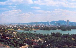 Daming Lake - Daming Lake and Jinan skyline