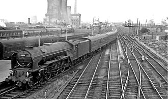 Darlington railway station - Express entering the station in 1961