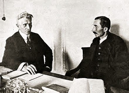 Wincenty Witos (right) and Ignacy Daszynski headed a wartime cabinet in 1920. Witos was an agrarian party leader and a centrist politician, later persecuted under the Sanation regime. Daszynski and Witos.jpg
