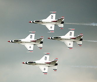 United States Air Force Thunderbirds - The USAF Thunderbirds in diamond formation at the 2009 Dayton Air Show