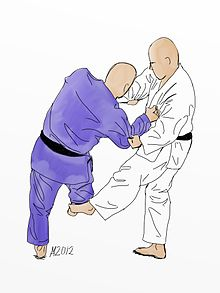 Illustration of De-ashi-barai Judo throw