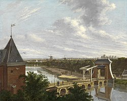 Johannes Jelgerhuis: The Amsterdam Outer Canal near the Leidsepoort Seen from the Theatre