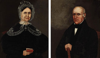 Holbrook, Massachusetts - Deacon Elisha Holbrook and Sarah Thayer Holbrook. Elisha Holbrook was deacon of the old East Randolph church from 1819 to 1856, and deacon of the Winthrop Church from 1856 to 1865. His son Elisha Niles Holbrook provided the town with the funds for the town hall and library.