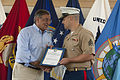 Defense.gov News Photo 120531-D-BW835-481 - Secretary of Defense Leon E. Panetta presents Sgt. David Long U.S. Marine Corps a certificate of commendation during a visit to the United States.jpg