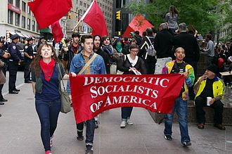 Democratic Socialists of America - Members march at the Occupy Wall Street protest on September 17, 2011