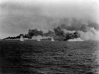 Destroyers laying smoke screen during Battle off Samar 1944.jpg