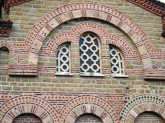 Architecture of the Tarnovo Artistic School - A detail from Church of St Demetrius of Thessaloniki, Veliko Tarnovo