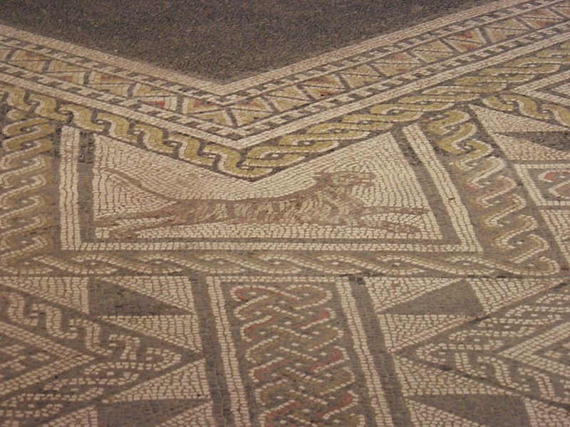 Detail of Mosaic in-situ (232 sq.m) of one of the basilica rooms, Roman Grand (Andesina), France