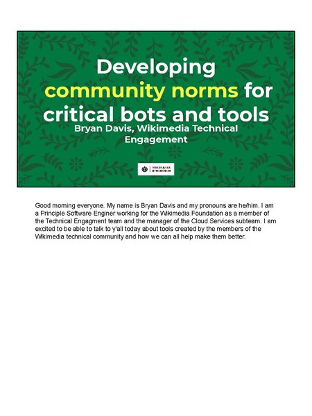 File:Developing community norms for critical bots and tools, Wikimania 2019 (with speaker notes).pdf