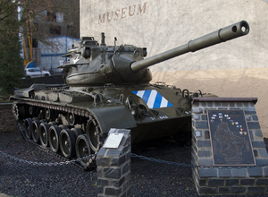 Belgian United Nations Command - Memorial to the Luxembourgish participation with a Patton tank at the National Museum of Military History, Diekirch.