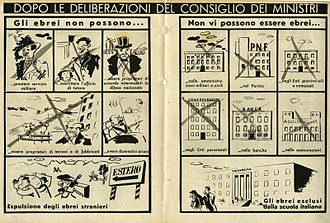 Italian racial laws - measures of the law, cartoon 1938