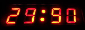 Digital clock - A digital clock's display changing numbers