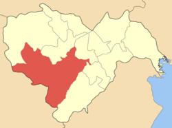 Η θέση του Δήμου Βέροιας στο νομό Ημαθίας.