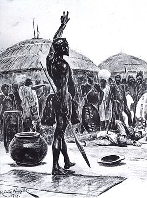 Dingane kaSenzangakhona - Dingane orders the killing of Piet Retief's party of Voortrekkers (portraying their deaths in the kraal; in fact they were killed on the execution hill)