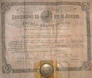 Federal University of Rio de Janeiro - 1928 diploma certificated by then-University of Rio de Janeiro