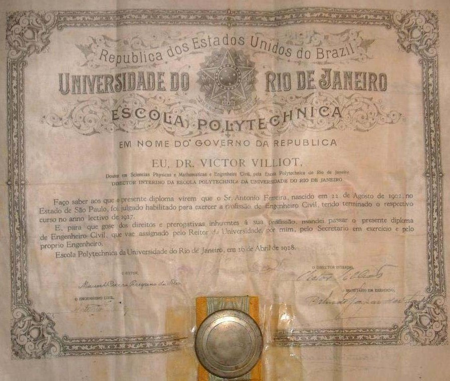 Diploma da Escola Polytechnica da Universidade do Rio de Janeiro em 1928