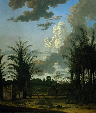 History of Suriname - A plantation in Suriname by Dirk Valkenburg (1707?)