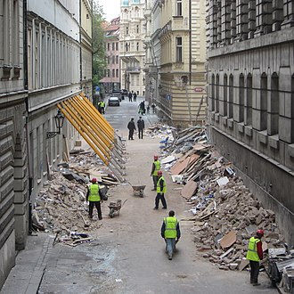2013 in the Czech Republic - Divadelní Street in Prague's Old Town following the explosion