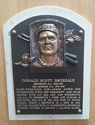 Don Drysdale - Don Drysdale's plaque at the Baseball Hall of Fame