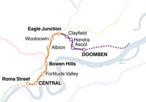 Doomben railway line - Image: Doomben railway line map