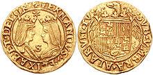 Moneta aurea con i Re Cattolici