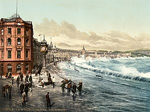 Douglas, Isle of Man - Photochrom of Loch Promenade during a storm, 1890s