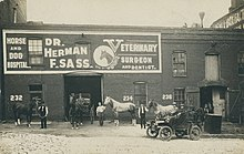 Scene of men standing, seated in automobiles, and in horse-drawn carriages, in front of Dr. Herman F. Sass' veterinary clinic in Toledo, Ohio in approximately 1911.
