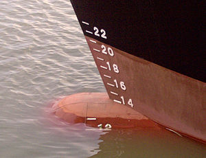 Draft markings in a ship's hull.