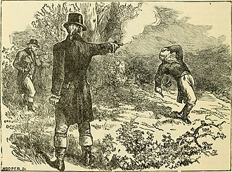 Burr–Hamilton duel - Artistic impression of Burr's shot