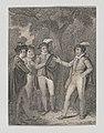 Dumain, Biron, the King, and Longaville (Shakespeare, Love's Labour's Lost, Act 4, Scene 3) MET DP870107.jpg