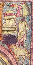 Dessin montrant un animal à quatre pattes près d'une plante, un homme debout et de dos, un tumulus de pierres et un enfant entrant dans une grotte.