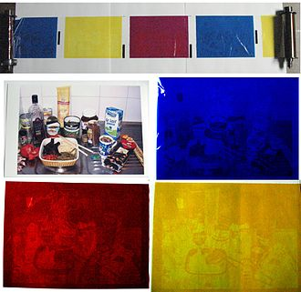 Dye-sublimation printer - Used dye panels retain a viewable image of the printed document, and an example of wasted dye that cannot be reused.