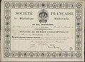 Dyplom członka korespondenta Societe Francaise de Statistique Universelle wydany dla Józefa Niedziałkowskiego.jpg