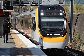 Queensland Rail City network - New Generation Rollingstock EMU set 702 at Bowen Hills station, in March 2017. These new trains are yet to enter service.