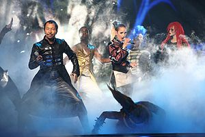 "DJ BoBo - DJ BoBo (far left) performing ""Vampires Are Alive"" in the ESC 2007 semi-final"