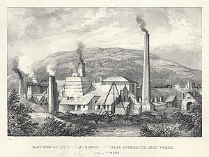Swansea Canal - Yniscedwyn anthracite iron works; c. 1845.