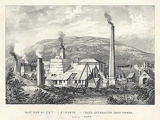 East view of the Yniscedwyn crane anthracite iron works, near Swansea