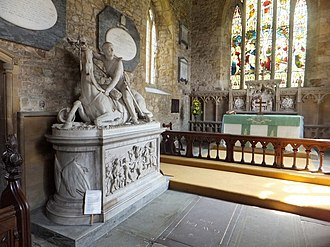 Gaddesby - The sculpture of a dying horse and rider on a marble chest, in memory of Col. Edward Cheney in 1848